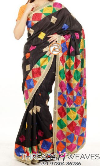 Phulkari Saree with Multi Color Pallu Work