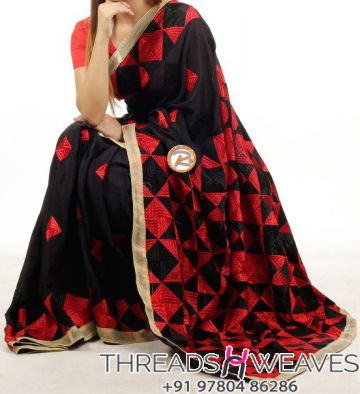 Dual Color Phulkari Saree with Pallu Work