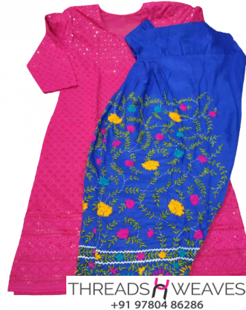 Pink Chikankari Kurti with Blue Multicolour Cotton Patiala Salwar