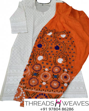 White Chikankari Kurti with Orange Multicolour Cotton Patiala Salwar