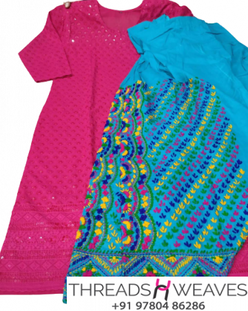 Pink Chikankari Kurti with Skyblue  Multicolour Cotton Patiala Salwar