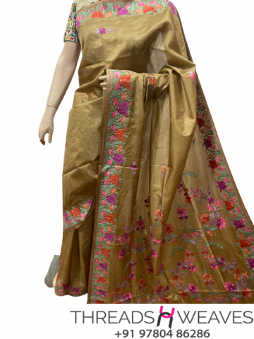 Kashmiri pure silk Sarees with aari work