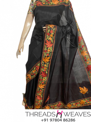 Black Kashmiri pure silk Sarees with aari work