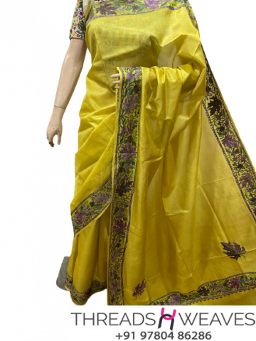 Yellow Kashmiri pure silk Sarees with aari work