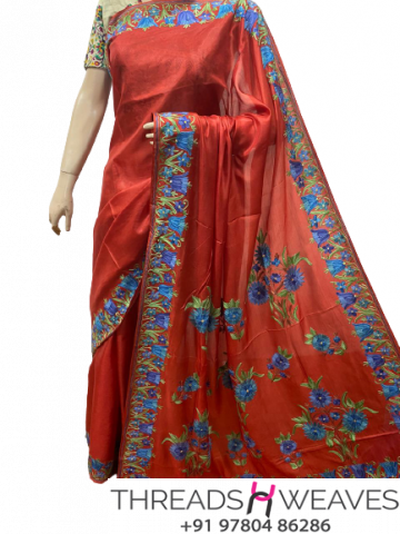 Red Kashmiri pure silk Sarees with aari work