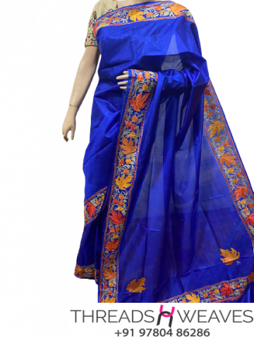 Royal Blue Kashmiri pure silk Sarees with aari work