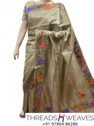 Baige Kashmiri pure silk Sarees with aari work