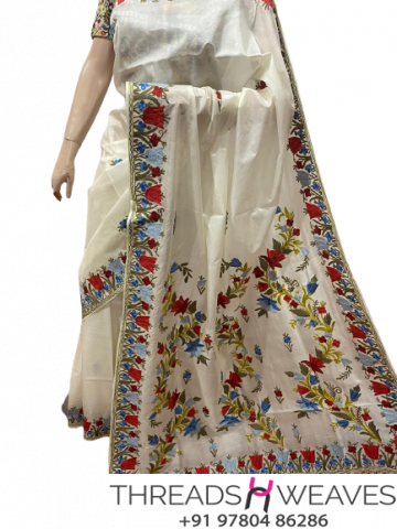 White Kashmiri pure silk Sarees with aari work