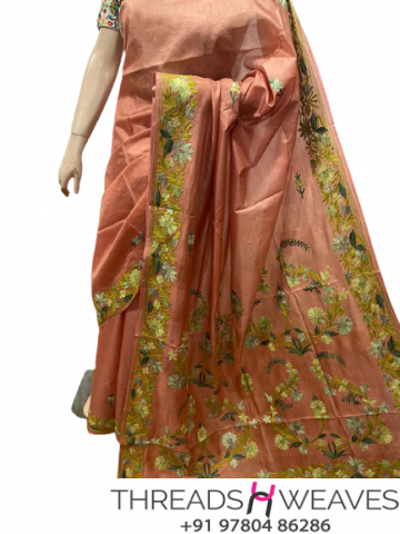 Peach Kashmiri pure silk Sarees with aari work