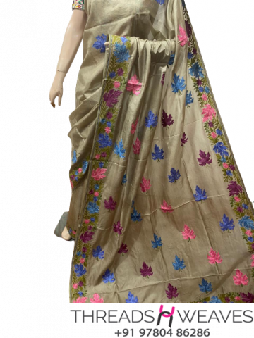 Olive Kashmiri pure silk Sarees with aari work