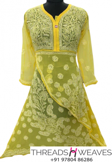 Yellow Georgette fabric 2 step gow