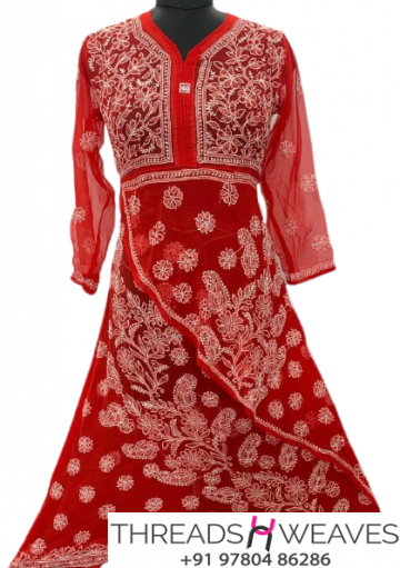 Red Georgette fabric 2 step gow