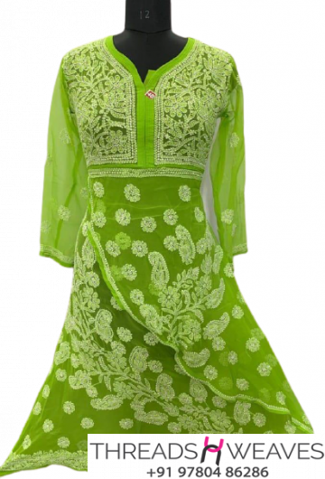 Green Georgette fabric 2 step gow