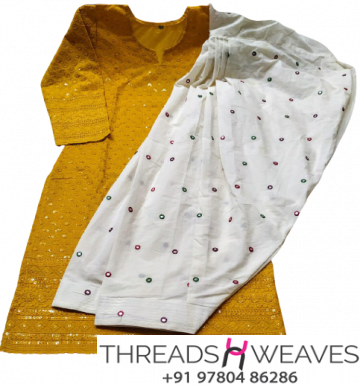 Mustard and white Mirror Patiala & Chikankari Kurti