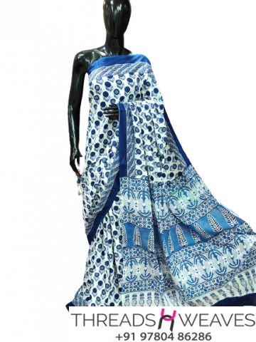 White and blue Cotton Malmal Saree With Blouse piece