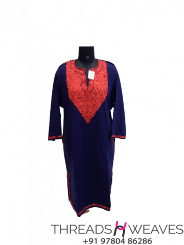 Royal Blue Kashmiri embroidery work phiran