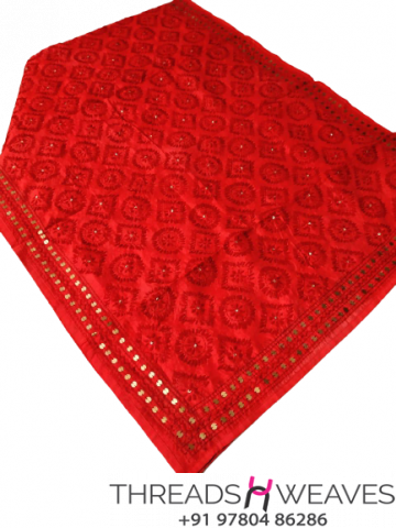 Red Chanderi Handicraft Dupatta