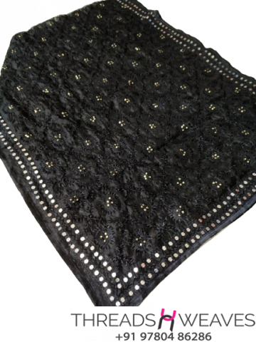 Black Chanderi Handicraft Dupatta