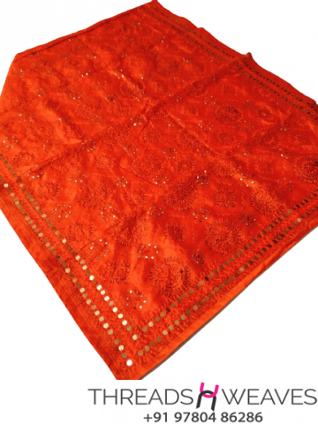 Orange Chanderi Handicraft Dupatta