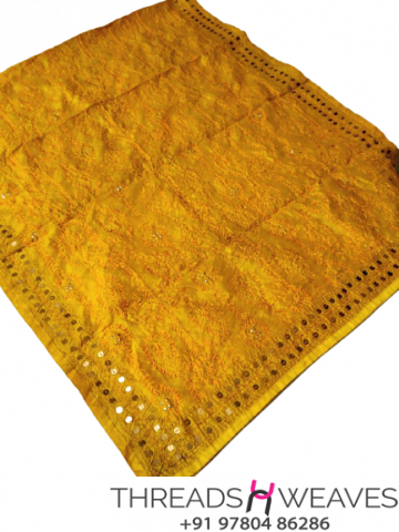 Mustard Chanderi Handicraft Dupatta