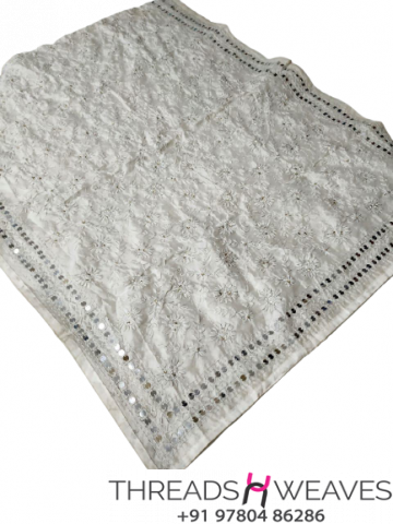 White Chanderi Handicraft Dupatta