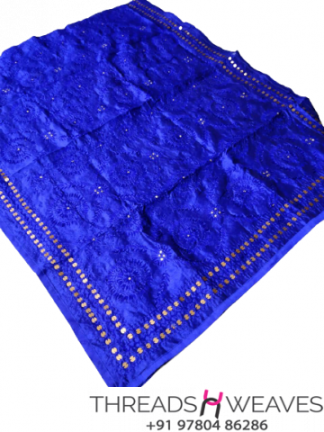 Blue Chanderi Handicraft Dupatta