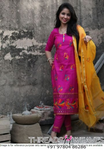 Cotton silk multicoloured suit with Chanderi Dupatta