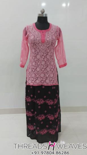 Pink and blackCotton crepe and georgette chikankari skirts with Hand chikan embroidery paired with georgette chikankari full embroidered  tops.