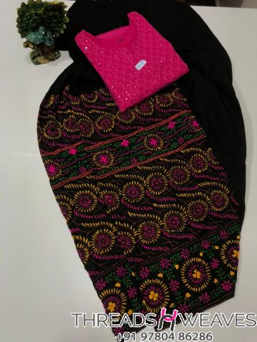 Black and pink Beautiful hand work kantha salwar with  chikenkari sequence work kurti