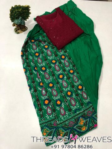Green and maroon Beautiful hand work kantha salwar with  chikenkari sequence work kurti