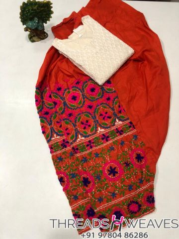 Red and cream Beautiful hand work kantha salwar with  chikenkari sequence work kurti