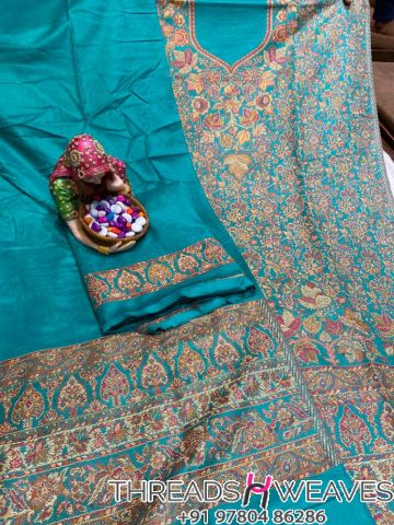 Sky blue Pashmina suits with stall
