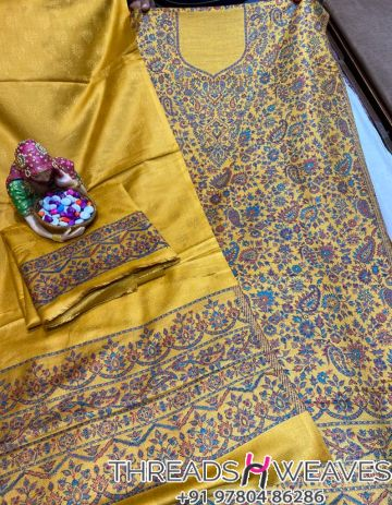 Mustard Pashmina suits with stall