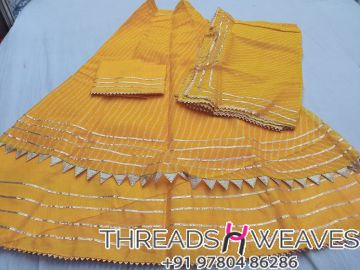 Yellow Kota Doria Stiched skirt with linning and unstiched blouse Dupataa
