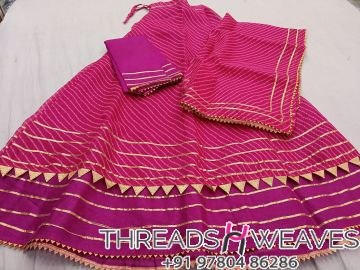 Pink Kota Doria Stiched skirt with linning and unstiched blouse Dupataa