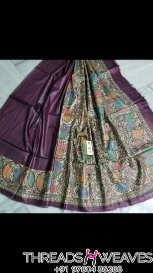 Wine Pure Tussar Ghiccha silk saree with beautiful colour combination