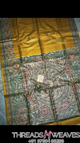 Mustard Pure Tussar Ghiccha silk saree with beautiful colour combination