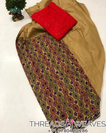 Mustard and red Beautiful hand work kantha salwar with  chikenkari sequence work kurti