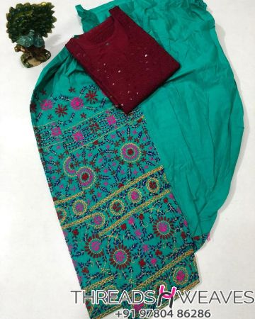Sea green and maroon Beautiful hand work kantha salwar with  chikenkari sequence work kurti