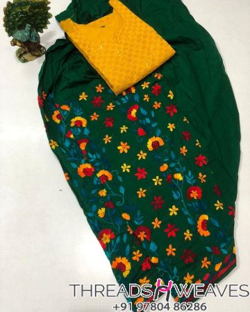 Sea green and yellow Beautiful hand work kantha salwar with  chikenkari sequence work kurti