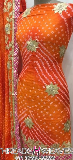 Bandhini Cotton Suit with Charkhi Gotta