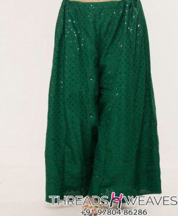 Dark Green Chikankari Sharara