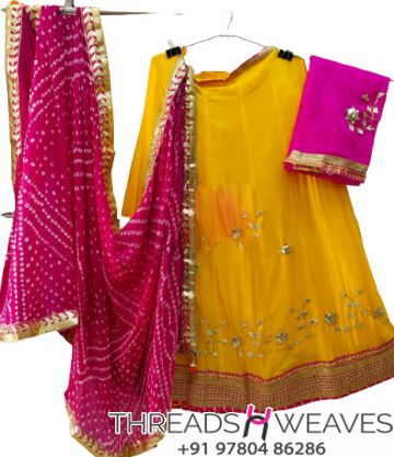 Yellow and pink Petan Work Pure Chinon Lehengas Collection