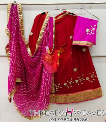 Red and pink Petan Work Pure Chinon Lehengas Collection
