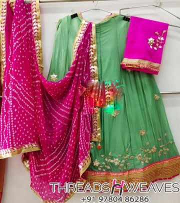 Green and pink Petan Work Pure Chinon Lehengas Collection