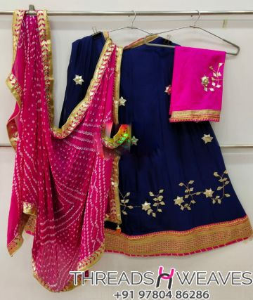 Blue and pink Petan Work Pure Chinon Lehengas Collection