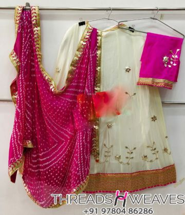 Off white and pink Petan Work Pure Chinon Lehengas Collection