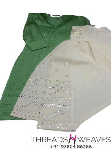 Green and White Chikankari kurti with mirror and zari work salwar