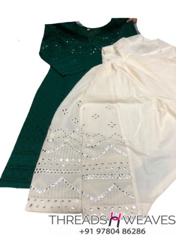 Dark green and White Chikankari kurti with mirror and zari work salwar