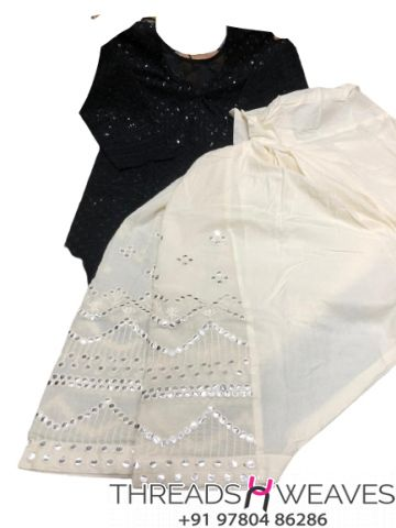 Black and White Chikankari kurti with mirror and zari work salwar